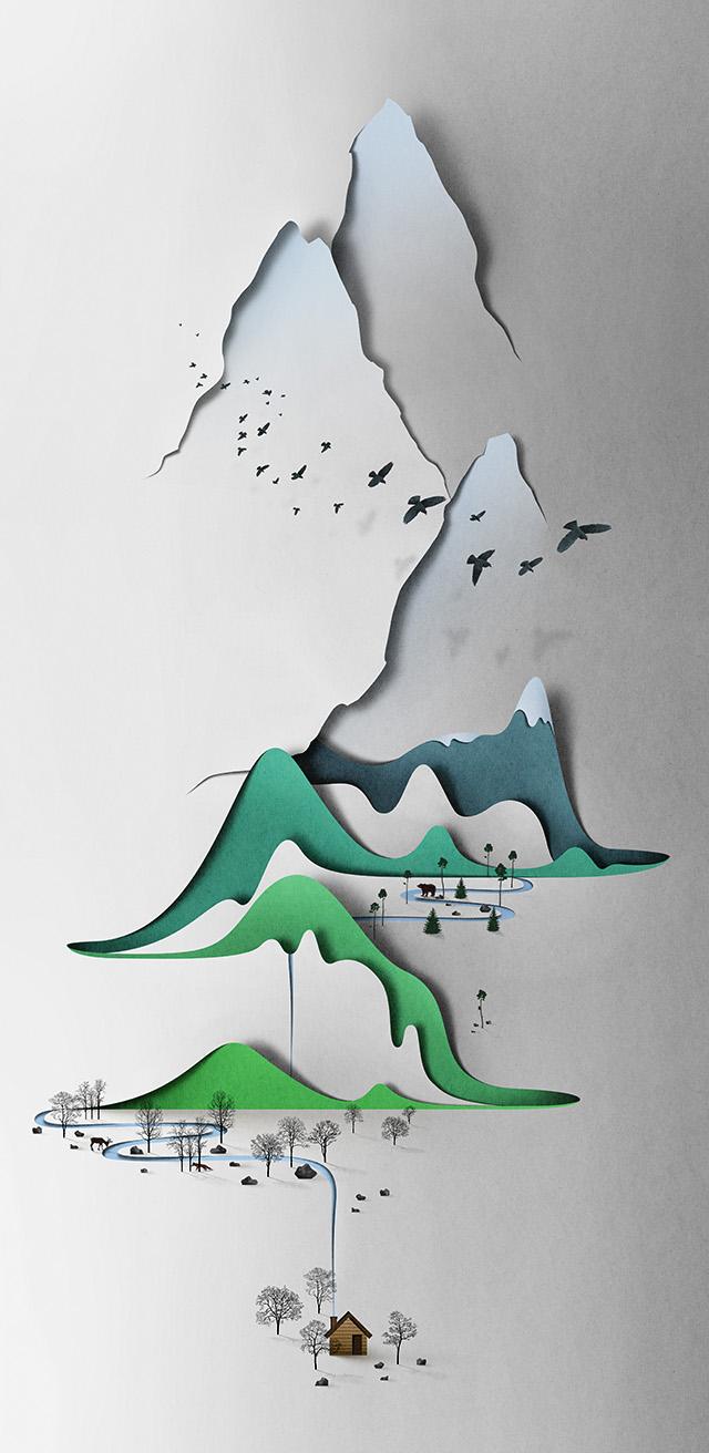 Paper Landscape Illustrated by Eiko Ojala paper landscapes illustration