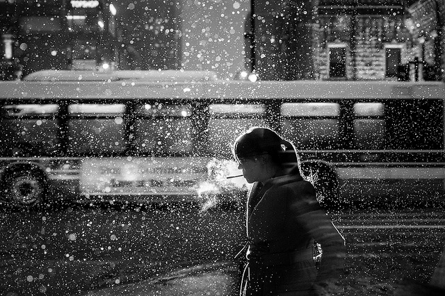 Chicago Lights: Flash Street Photography by Satoki Nagata snow multiple exposures light Chicago black and white