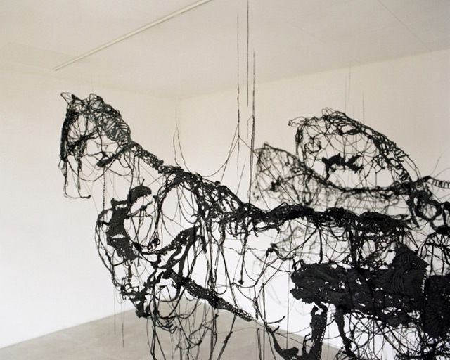 Suspended Horses Made of Wool Thread Dipped in Tar and Latex by Sandrine Pelletier textiles latex horses