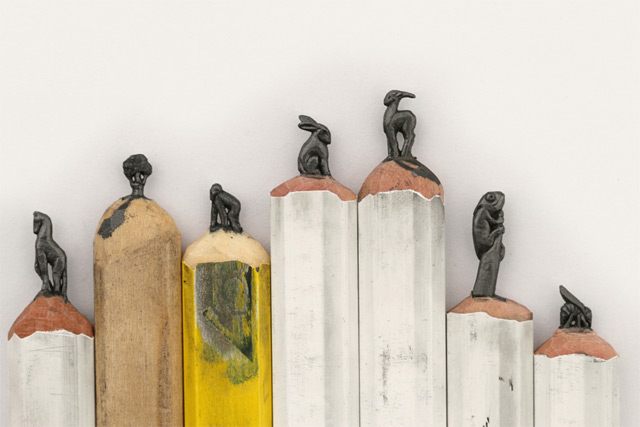 An Alphabet of Animals Carved from Crayons and Other Miniature Pencil Works by Diem Chau sculpture pencils miniature crayons animals abecedarian