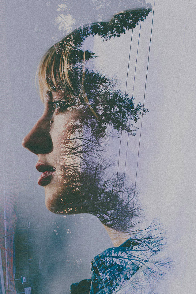 Double Exposure Portraits by Sara K Byrne plants multiple exposures flowers