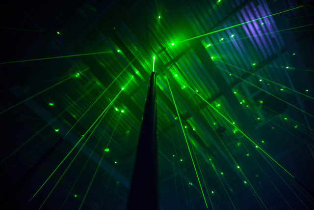 An Interactive Forest of Musical Lasers by Marshmallow Laser Feast trees light lasers interactive installation