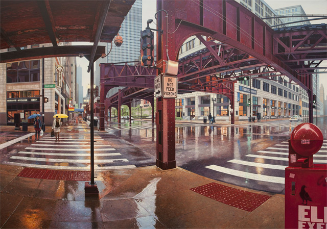 Realistic Urban Landscape Paintings of Chicago and New York by Nathan Walsh photo realism painting New York landscapes Chicago architecture