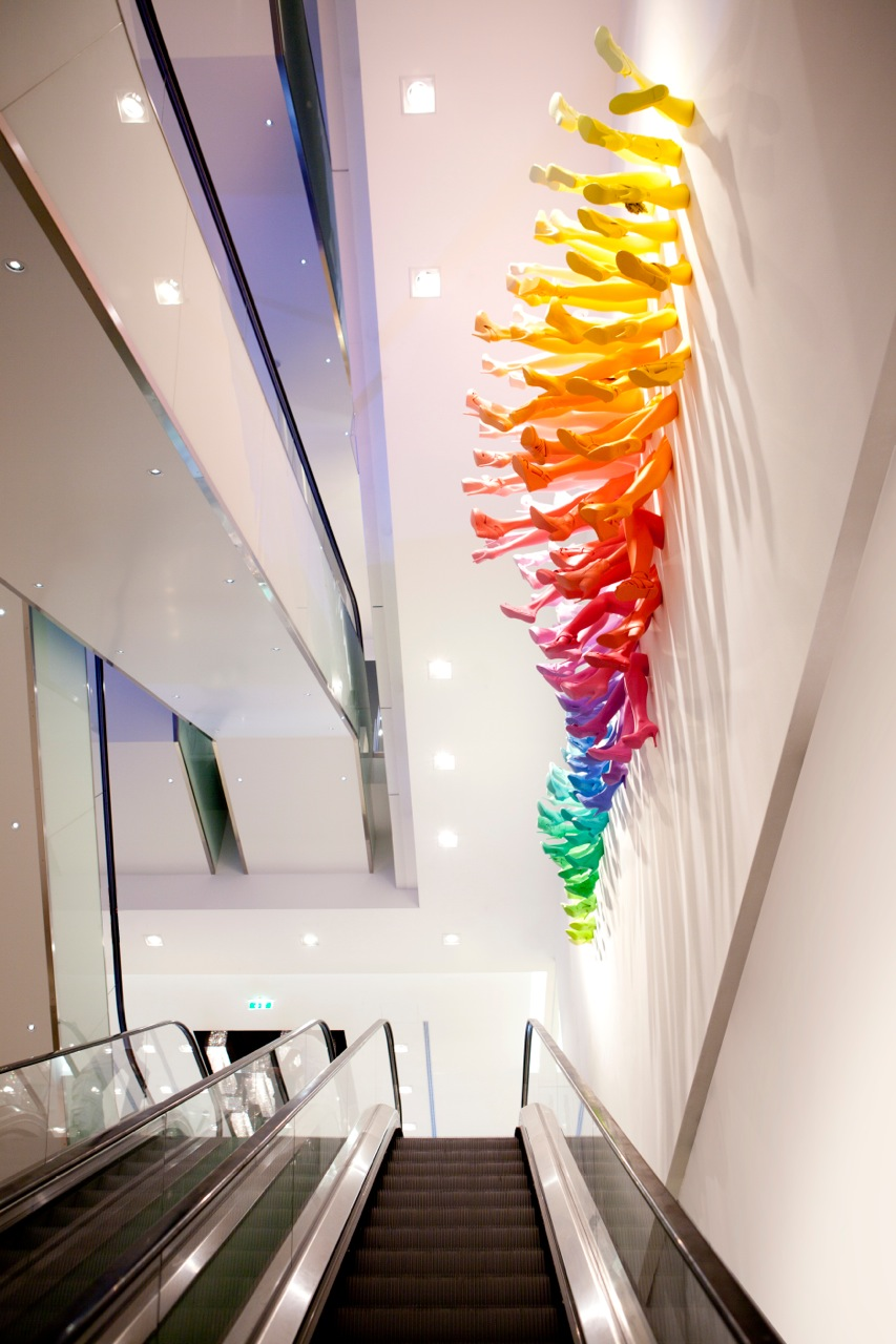 A Rainbow of Shoes and Legs for Breuninger by John Breed shoes sculpture rainbows installation anatomy