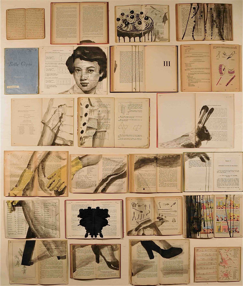 Book Paintings by Ekaterina Panikanova painting installation collage books