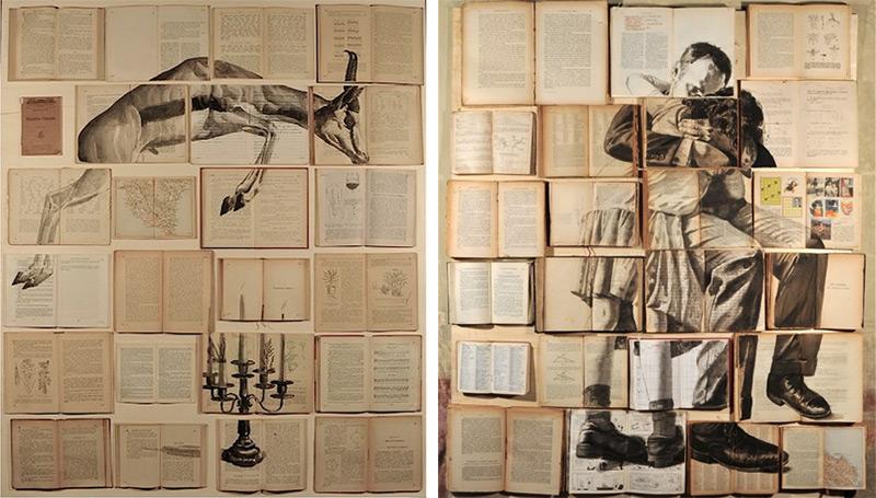 Reserva pinturas de Ekaterina Panikanova instalación pintura libros collage