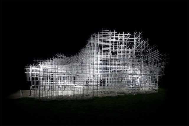 Sou Fujimotos Giant Serpentine Pavilion Converted into a Storm of LED Lightning by UVA lightning light installation architecture