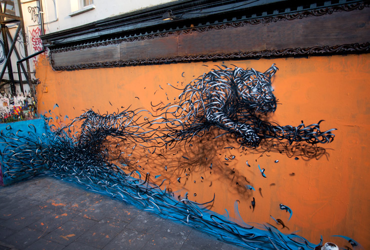 New Murals by DALeast Seem to Explode with Energy street art murals