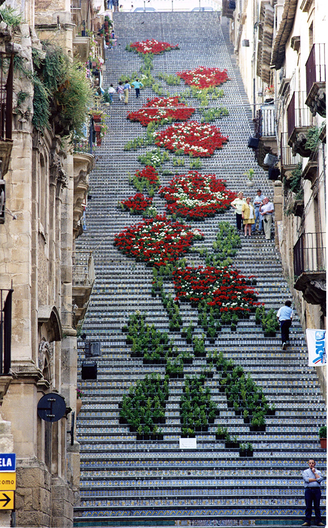 A Historic Staircase in Caltagirone, Sicily Used as a Backdrop for Light and Flower Festivals Sicily multiples installation flowers