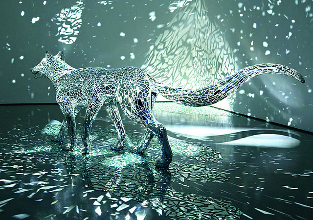 A Reflective Six Legged Wolf Covered in Mirror Shards by Tomoko Konoike sculpture mirrors dogs