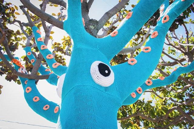A Yarn Bombed Tree Squid yarn bombing trees textiles