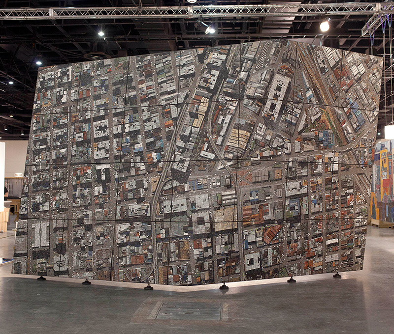 Vertical Aerial: A Monumental 3 Ton Aerial Mosaic of Johannesburg sculpture mosaics Johannesburg Africa aerial