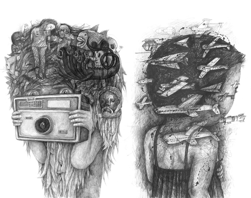 Headsongs: Graphite Portraits Morph into Landscapes portraits illustration drawing