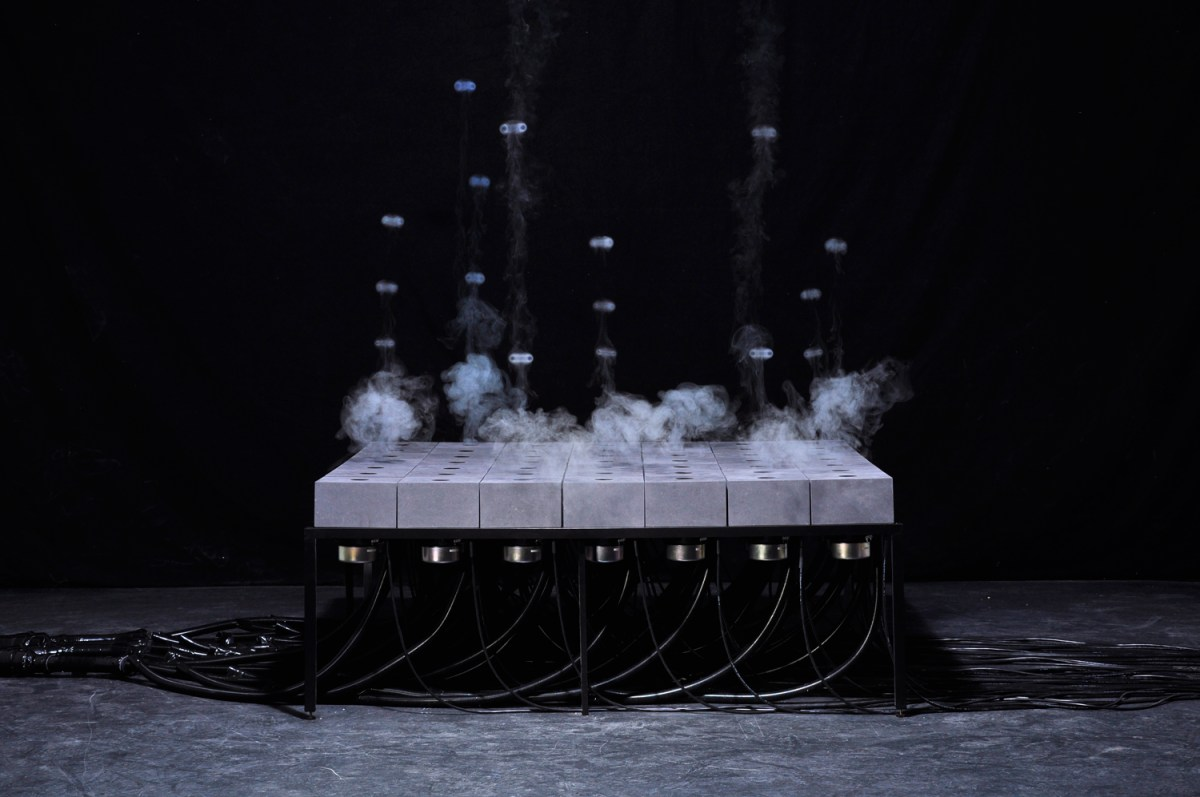 A Grid of Speakers That Shoots Patterns of Fog Vortices into the Air by Daniel Schulze sound installation fog