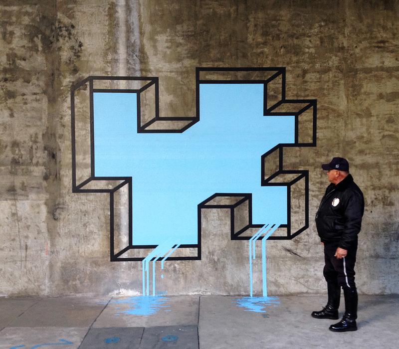 New Geometric Tape Art from Aakash Nihalani tape street art geometric