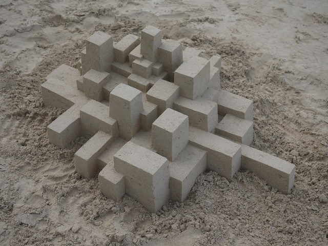 New Geometric Sandcastles from Calvin Seibert sculpture sand geometric