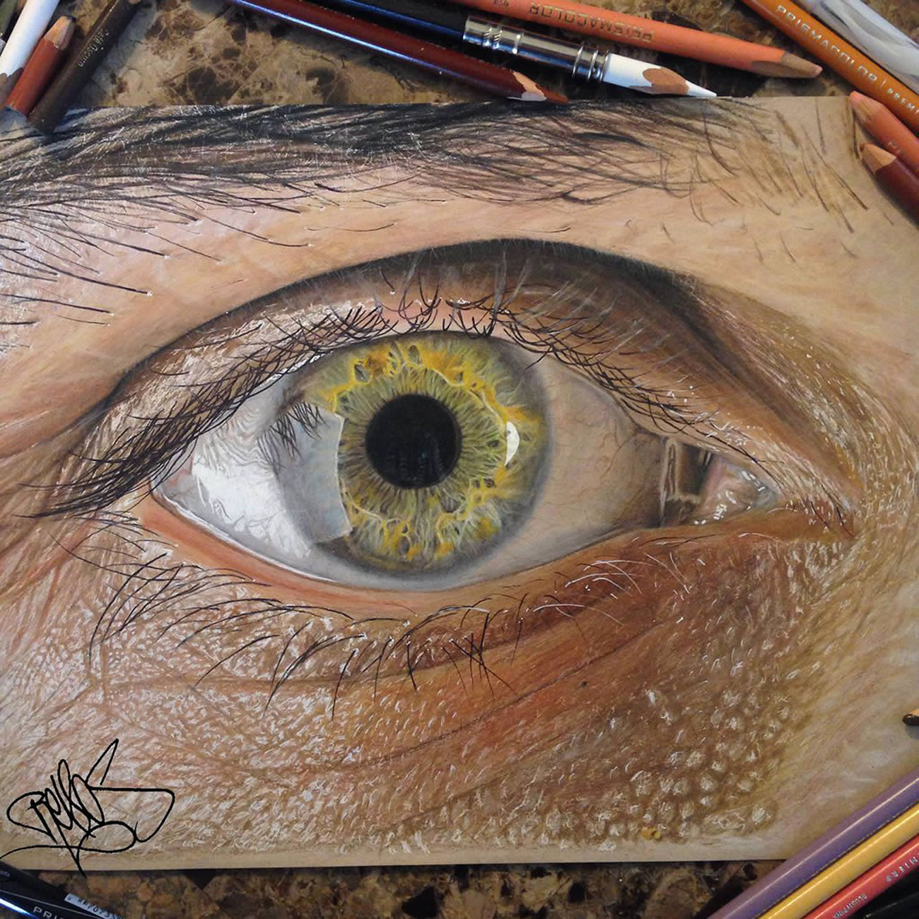 Hyperrealistic Eyes Drawn With Colored Pencils