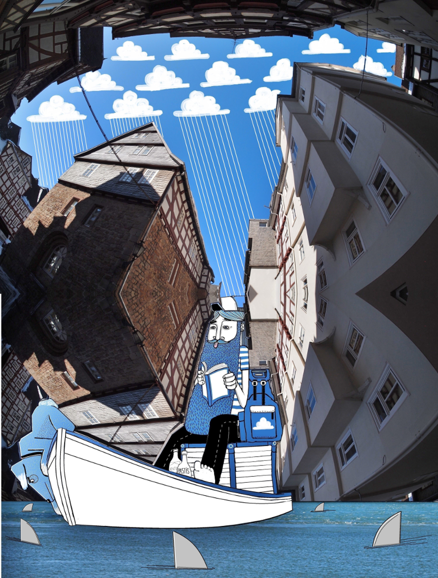 Sky Art: New Illustrations in the Sky Between Buildings by Thomas Lamadieu sky illustration