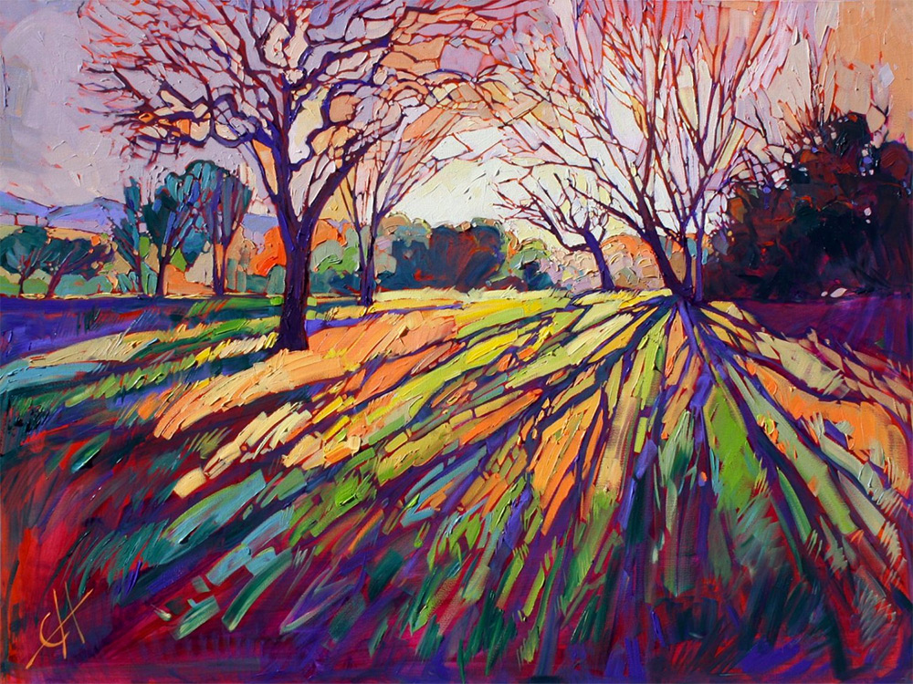 Oil Landscapes Transformed into Mosaics of Color by Erin Hanson painting landscapes impressionism