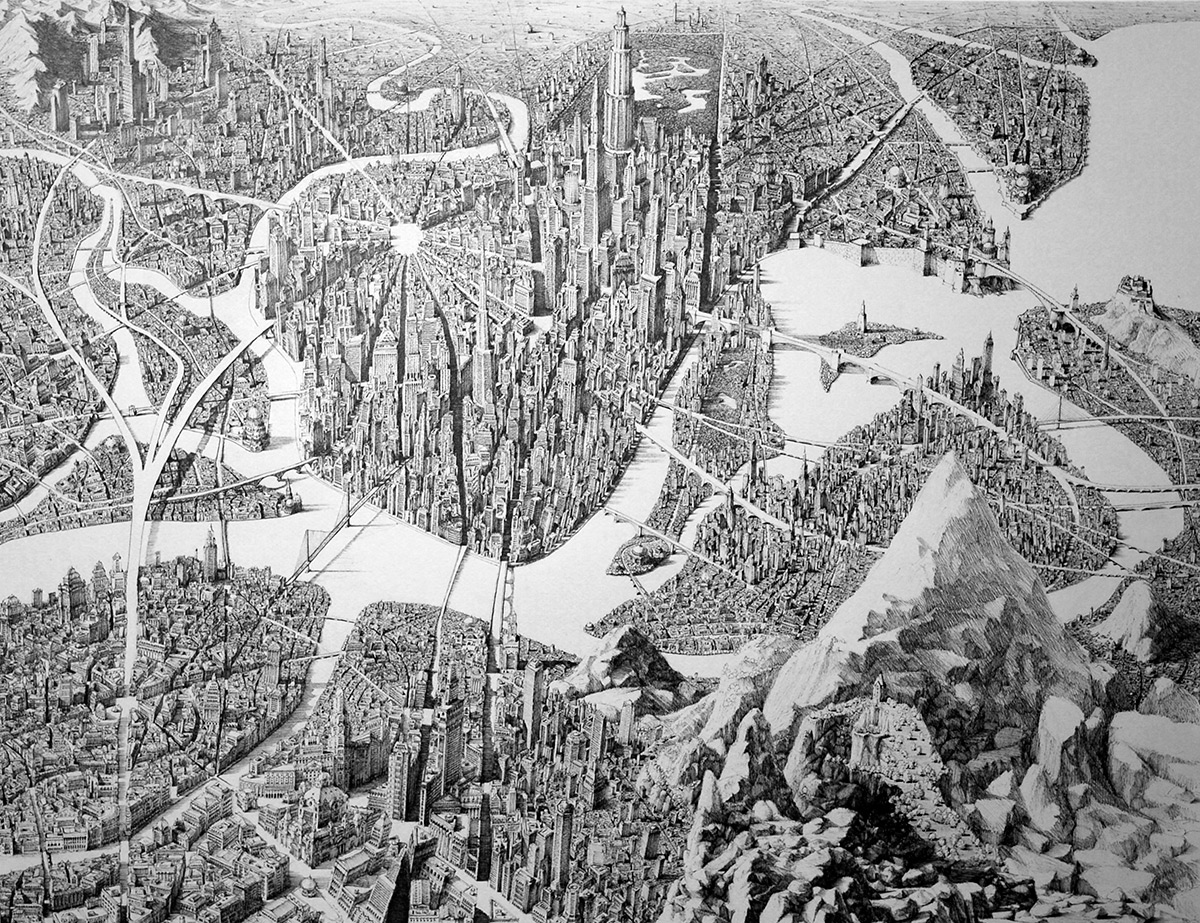 Jaw Dropping Pen and Ink Cityscapes That Seem to Sprawl into Infinity by Ben Sack drawing