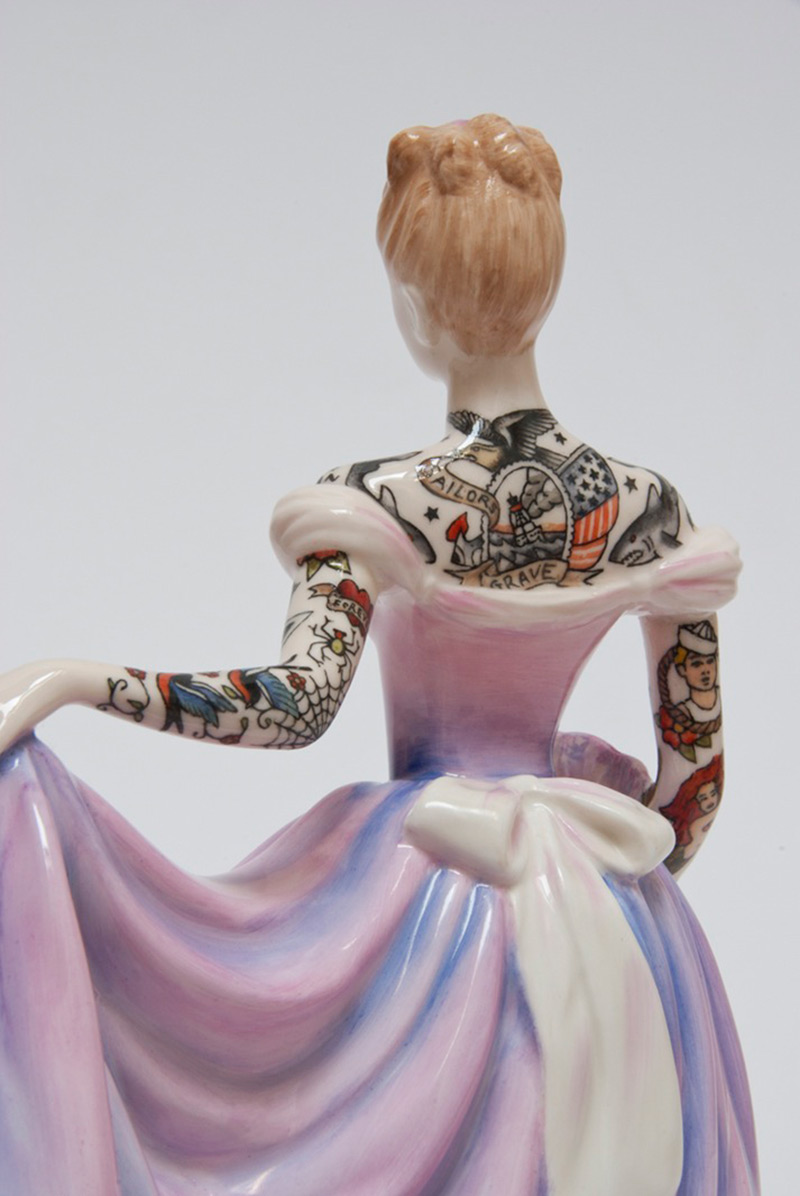 Tattooed Porcelain Figures by Jessica Harrison tattoos sculpture porcelain
