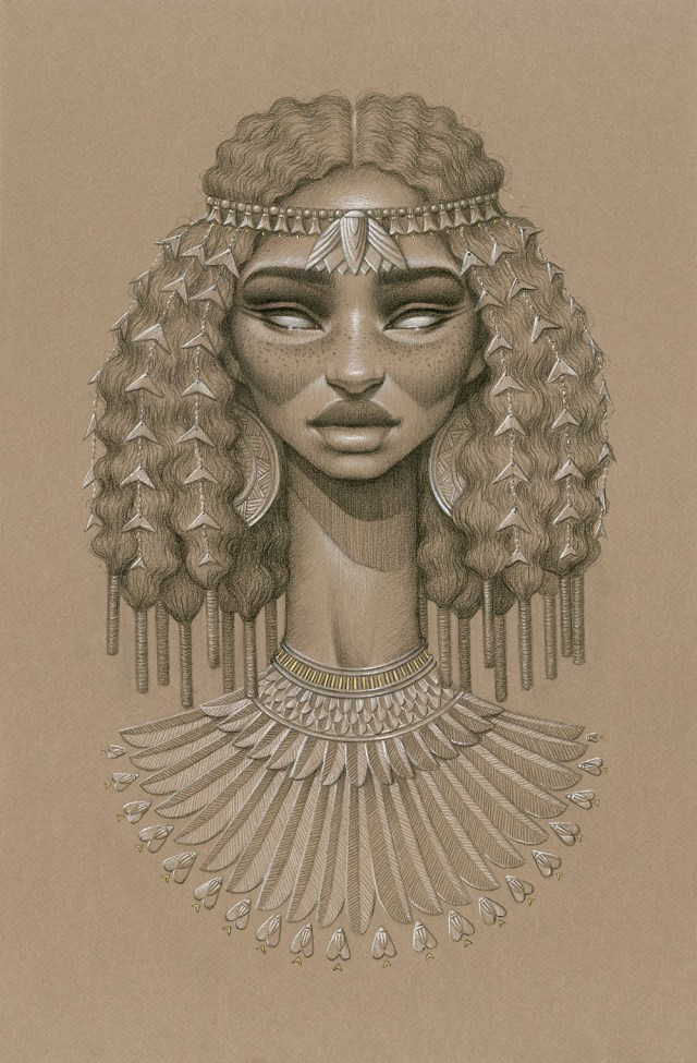 Sundust: Striking Charcoal & Conté Portraits of Sun Goddesses by Sara Golish portraits illustration drawing Africa
