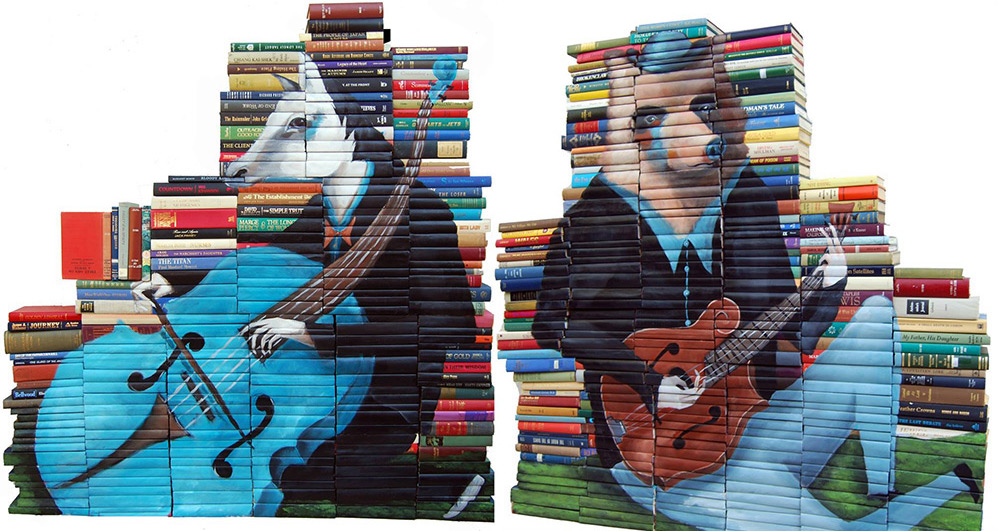 New Paintings on Salvaged Books by Mike Stilkey painting books