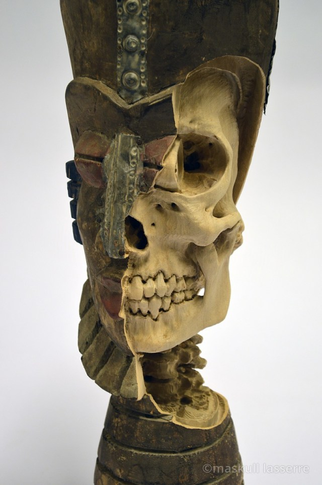 Artist Maskull Lasserre Carves Imagined Skeletons into Souvenir Sculptures and Decoys wood sculpture anatomy