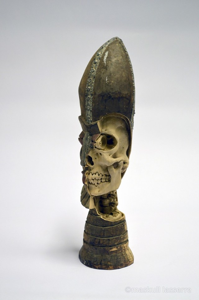 Artist Maskull Lasserre Carves Imagined Skeletons into Souvenir Sculptures and Decoys wood sculpture anatomy
