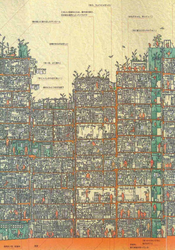 An Illustrated Cross Section of Hong Kong's Infamous Kowloon Walled City illustration Hong Kong history architecture