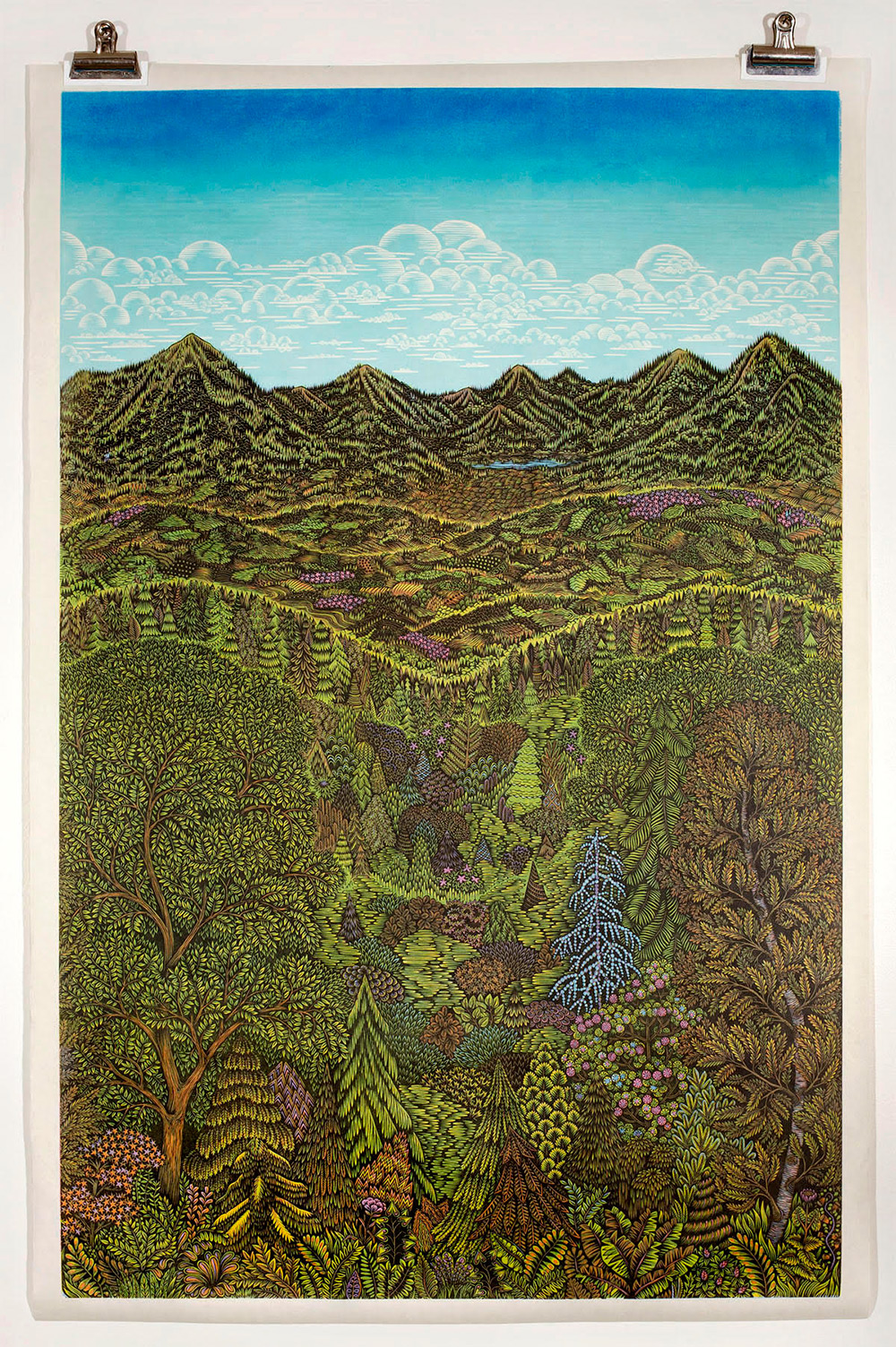 Tugboat Printshop's Lush 'Overlook' Woodcut Print Rolls off the Press After 3 Years of Carving and Preparation This Is Colossal
