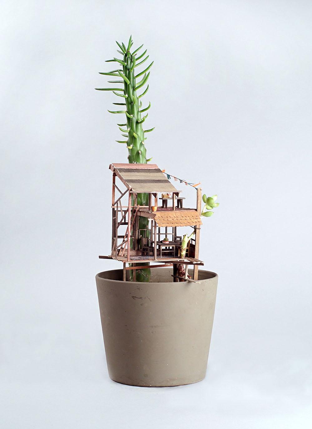 Miniature Sculptures Plant Decor on Succulent in Round Concrete Pot Jedediah Voltz
