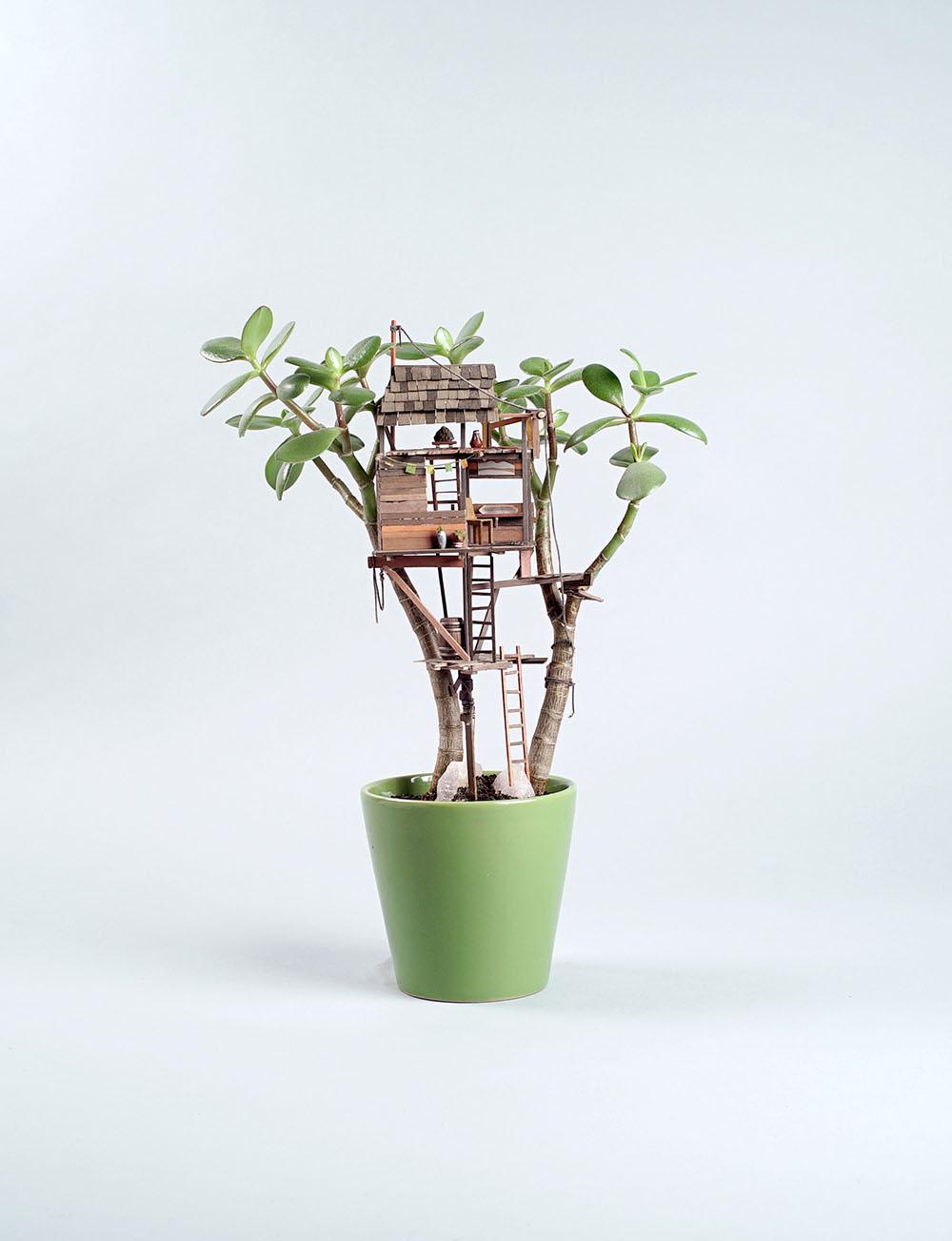 Miniature Sculptures Plant Decor on Succulent in Round Green Pot Jedediah Voltz Art