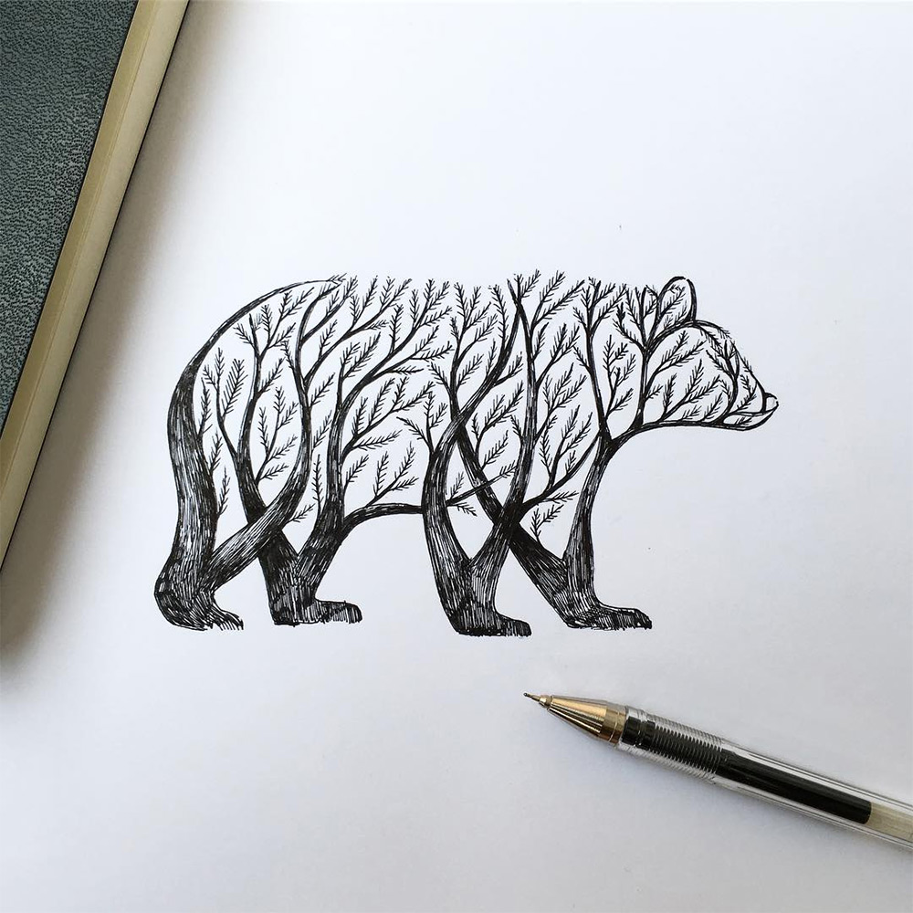 New Pen Ink Depictions Of Trees Sprouting Into Animals By Alfred Basha Colossal