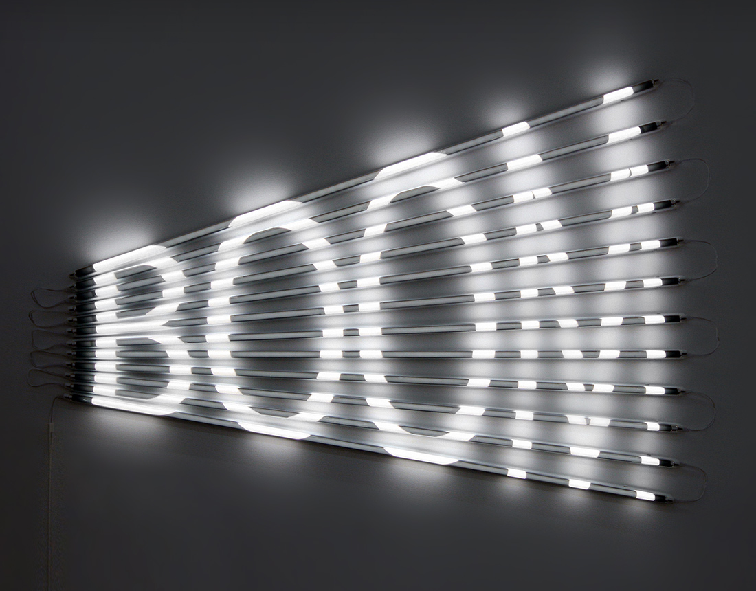 BOOM (2011), fluorescent lights, acrylic tubes and light filters, 85 x 120 cm