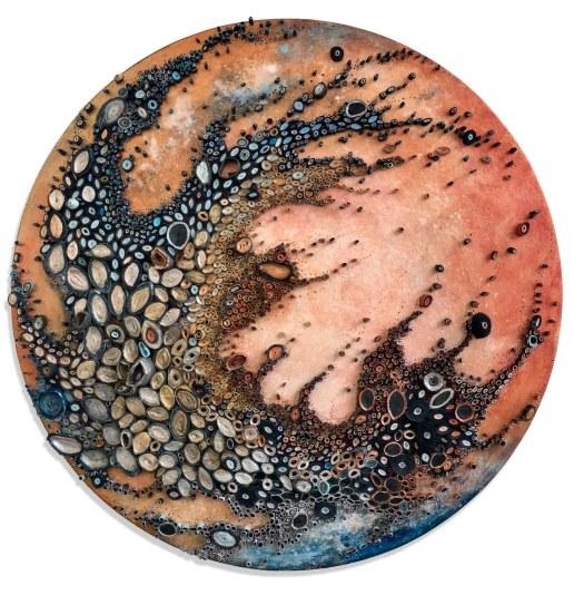 """Aquatic Interstellar Dream"" (2018), Paper, acrylic, copper on canvas"