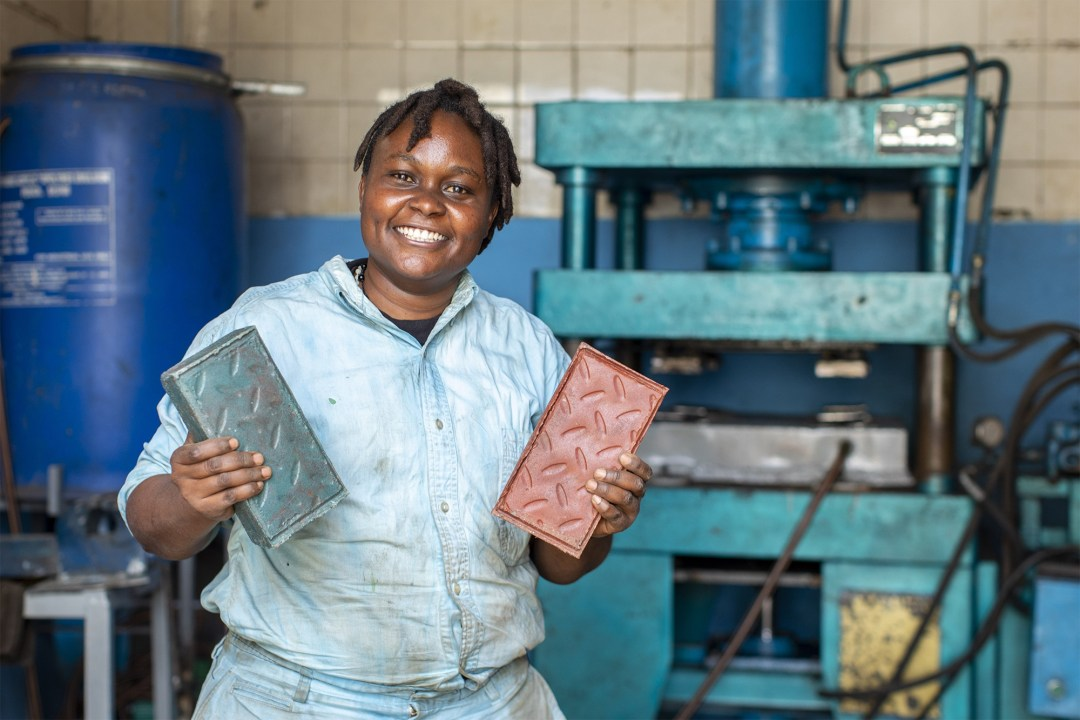 A Nairobi Entrepreneur Is Recycling Plastic Waste into Bricks That Are More Durable Than Concrete