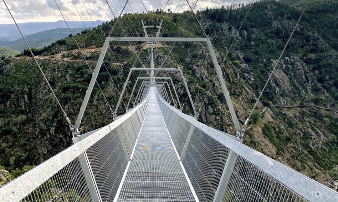 The World's Longest Pedestrian Suspension Bridge Stretches Across the Paiva River Gorge in Portugal