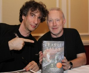 Stephen Jones and Neil Gaiman at the Fearie Tales launch at the World Fantasy Convention photo by Peter Coleborn