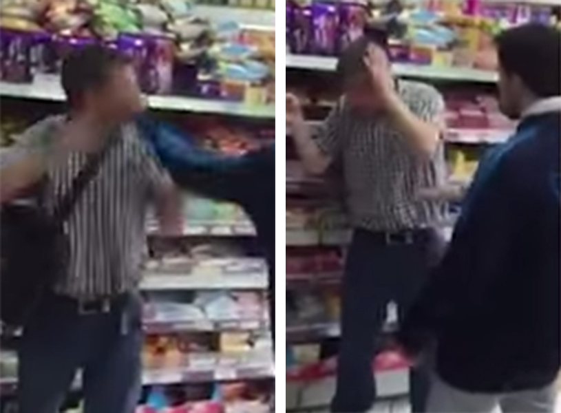 Video footage showing an apparent attack on a suspected shoplifter in east London has gone viral