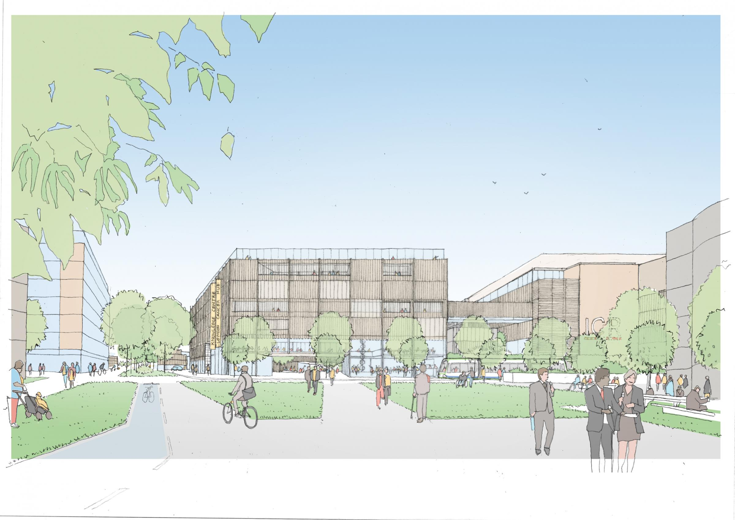 An artist's impression of the cancer research hub