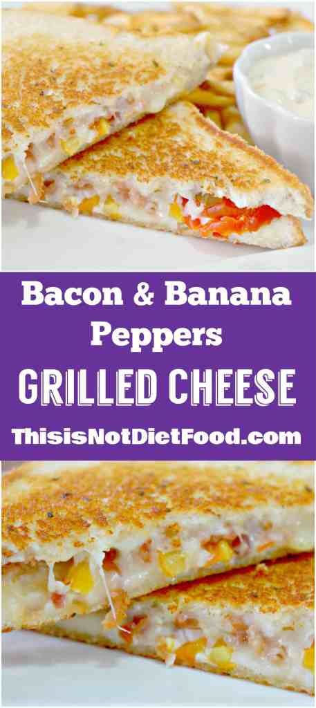 Bacon & Banana Peppers Grilled Cheese. Grilled cheese sandwich with a kick.