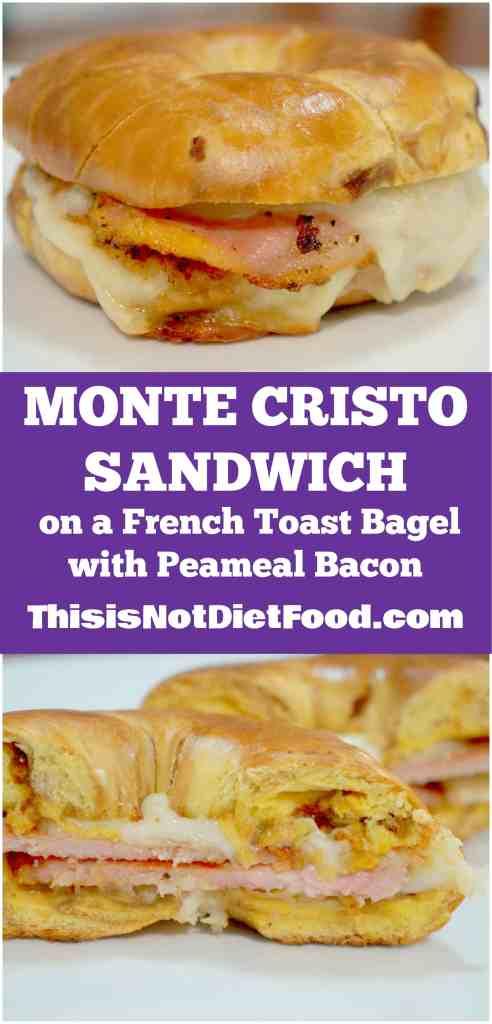 Monte Cristo Sandwich with Peameal Bacon. Breakfast sandwich on a french toast bagel.