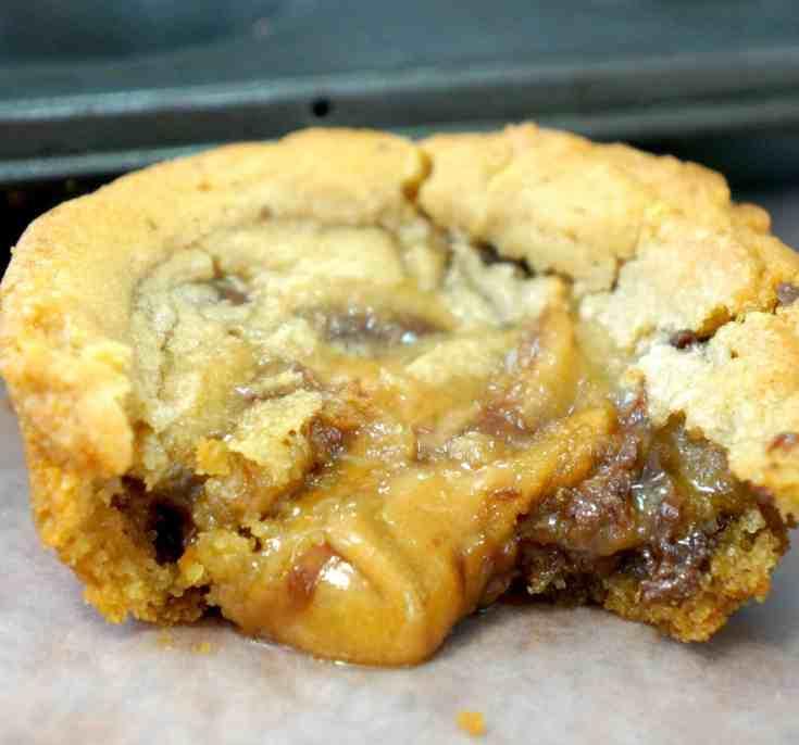 Caramel Chocolate Cream Cheese Stuffed Cookie Zoomed