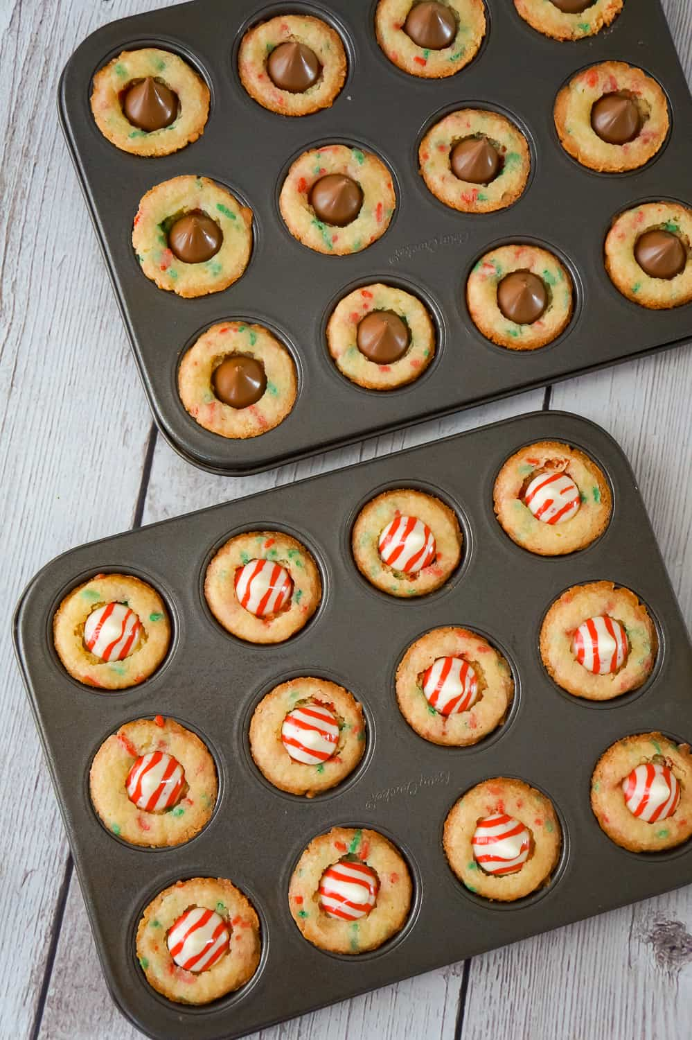 Christmas Sugar Cookie Cups With Hersheys Kisses In Mini Muffin Tins