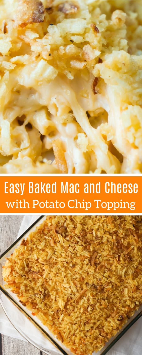 Baked Mac and Cheese with Potato Chip Topping can be either an easy dinner recipe or side dish recipe. This creamy macaroni and cheese is loaded with cheddar cheese, mozzarella and cream cheese, and topped with rippled potato chips and French's fried onions.
