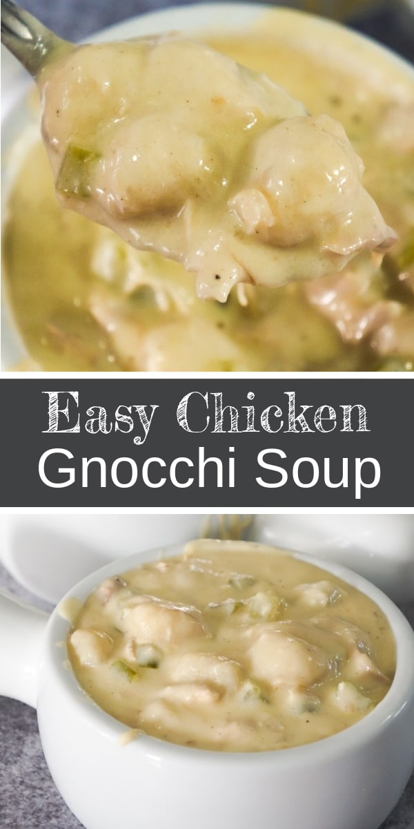 Easy Chicken Gnocchi Soup is a delicious creamy soup recipe perfect for fall. This hearty soup is loaded with shredded chicken and mini potato dumplings.