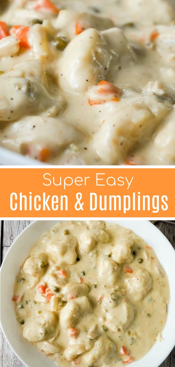 Easy Chicken and Dumplings with Biscuits is a simple weeknight dinner recipe using rotisserie chicken and Pillsbury refrigerated biscuits. These creamy chicken and dumplings are a hearty comfort food dish perfect for cold weather.