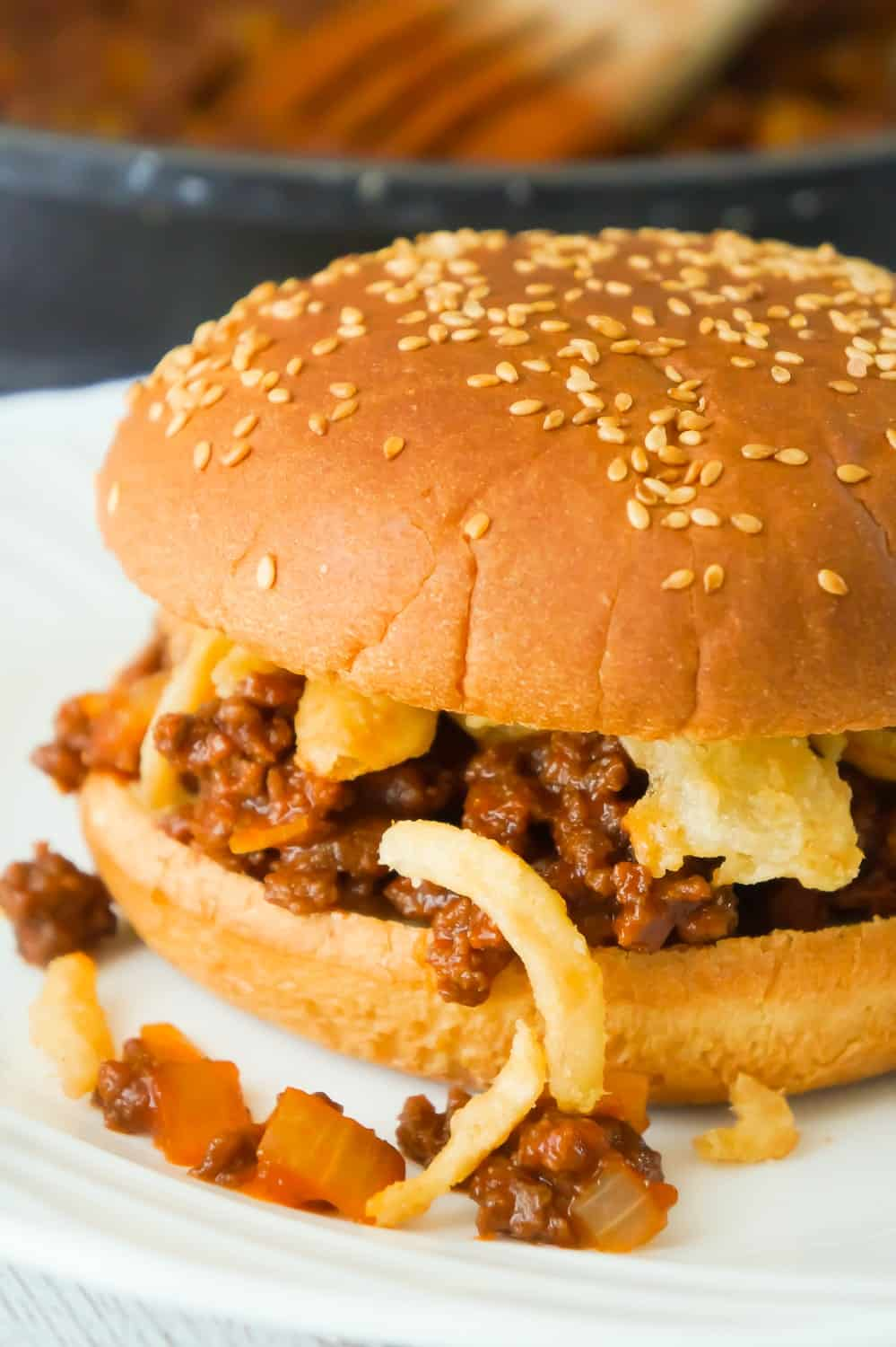 Easy Homemade Sloppy Joes are a simple weeknight dinner recipe your whole family will love. These sandwiches are loaded with ground beef tossed in a sweet tomato sauce and topped with French's fried onions.