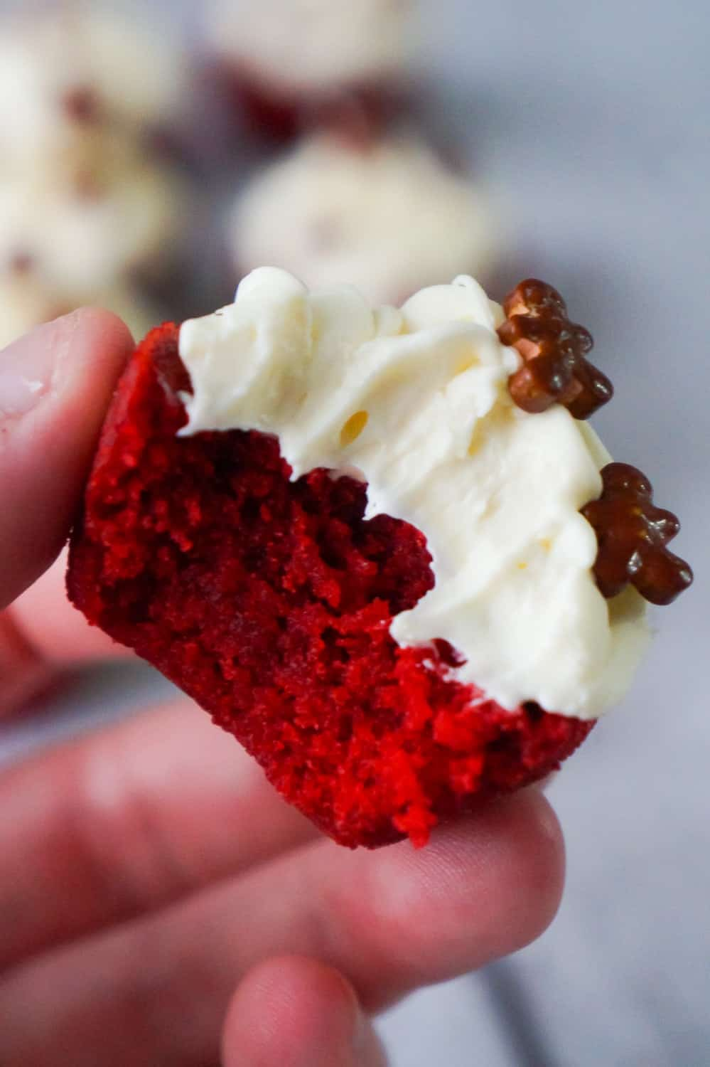 Red Velvet Brownie Bites are delicious mini desserts perfect for the holidays. These bite sized brownies are baked in mini muffin tins and topped with cream cheese frosting.